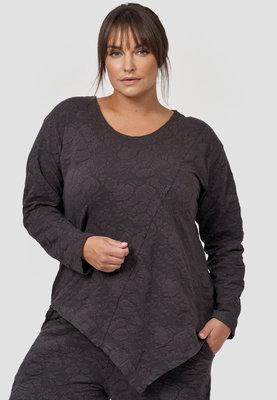 Tuniek/shirt, Kekoo, zwart met bloemenprint met ronde hals en lange mouwen, asymmetrisch