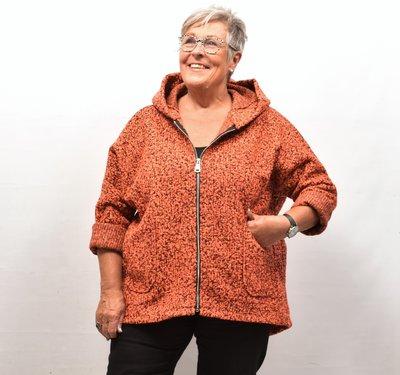 Jas/ Vest, oranje, gemêleerd, zakken op voorpand, capuchon
