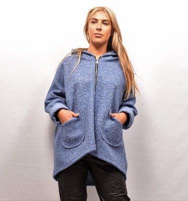 Jas/ Vest, blauw, gemêleerd, zakken op voorpand, capuchon