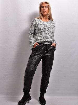 Stretchbroek, zwart, leatherlook,  elastische taille met tunnelkoord, gekreukt,