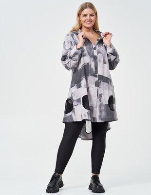 Vest/ blouse/ jas, Kekoo,  grijs met print, stonewashed