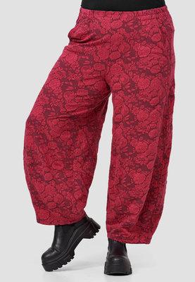Ballonbroek Kekoo rood met bloemenprint, rekbare taille en steekzakken