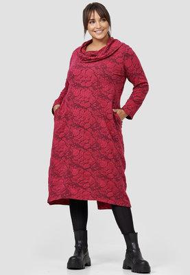 Jurk, Kekoo, rood met bloemenprint met  hangcol, lange mouwen en split achter
