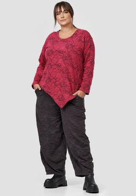 Tuniek/shirt, Kekoo, rood met bloemenprint en ronde hals en lange mouwen, asymmetrisch