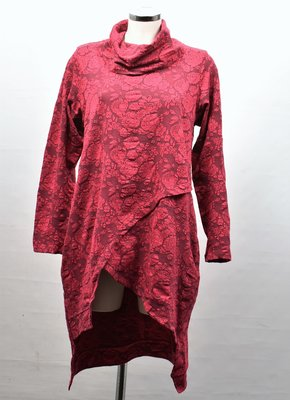 Tuniek, Kekoo, rood met bloemenprint, hangcol en lange mouwen