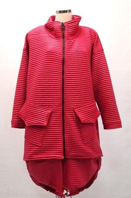 jas/ Kekoo, mantel rood, opstaande kraag en deelbare rits