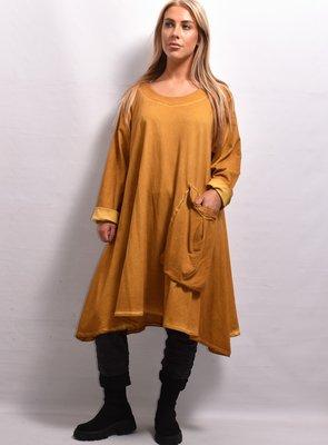 Lange tuniek/ jurk, okergeel, wijd, lange mouw, La-Bass, A-lijn, stonewashed
