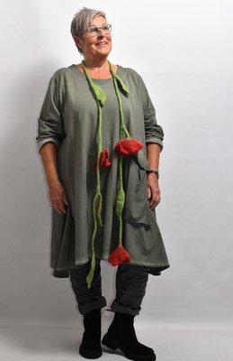 Lange tuniek/ jurk, armygroen, wijd, lange mouw, La-Bass, A-lijn, stonewashed