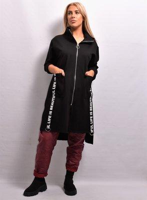 Apart vest/jas, zwart, ritssluiting, capuchon, 2 zakken met  banden met letterprint