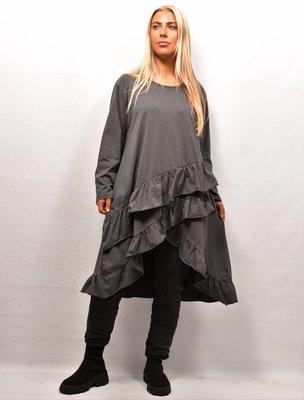 Tuniek/shirt, antraciet , wijd model, schuine gerimpelde stroken onderaan