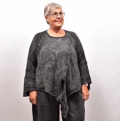Trui Kekoo zwart/antraciet gebreide asymmetrische trui met lange mouw