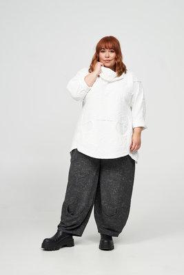 Tuniek/ shirt, winterwit, reliëfstof, Kekoo, grote col en mooie steekzakken op voorpand