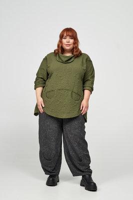 Tuniek/ shirt, mosgroen, reliëfstof, Kekoo, grote col en mooie steekzakken op voorpand