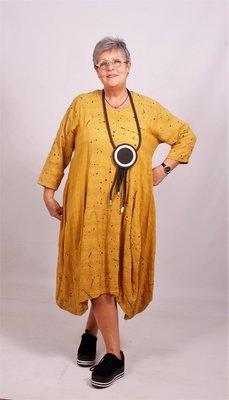 ..Tuniek/ jurk okergeel katoen, A-lijn, Moonshine, met zwarte spetters