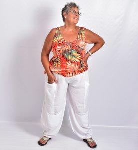 ..Broek La-Bass, wit, grote zakken op heup- en kniehoogte, rekbare taille