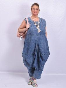 .,Jurk, la Bass jeans stone washed, mouwloos, grote A-lijn met bollinen onderaan
