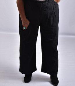 ,,Broek La-Bass, zwart, grote zakken op heup- en kniehoogte, rekbare taille, katoen met lycra