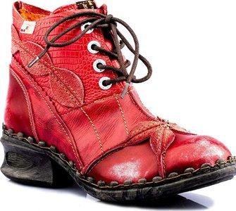 Leuke halfhoge schoen, rood met veter