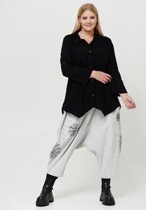 Blouse Kekoo zwart, met lange oprolbare mouwen en knoopsluiting, stretch, punten aan de onderkant