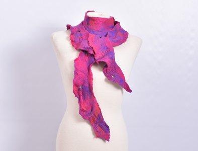 Sjaal, paars/roze, vilt, handgemaakt
