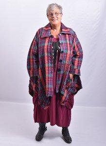 Vest/blouse/jasje  licht paars/ rood/ patrol geruit met, knoopsluiting, mooie zakken, lange mouw