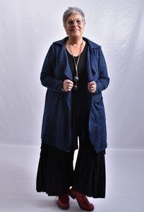 Vest, donker blauw/ zwart, ThomB, lange mouw ,openvallend