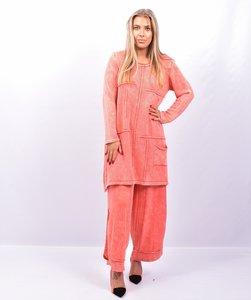 Lange trui, gebreid, Kekoo abrikoos stone washed, met naar buiten gestikte naden, lange mouw,