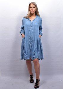 Jurk/jeansblouse / lange tuniek, lichtblauw lange mouw, knoopsluiting, A-lijn, zakken, bollingen