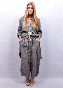 Zouavebroek, taupe, elastische taille, steekzakken, sierknopen, grote zak middenvoor, linnen