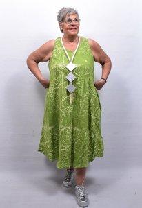 Mouwloze jurk limegroen met print, , grote A-lijn, linnen