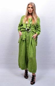 Zouavebroek, limegroen, elastische taille, steekzakken, sierknopen, grote zak middenvoor, linnen