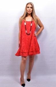 Mouwloze jurk/tuniek, rood grote A-lijn, broderie.