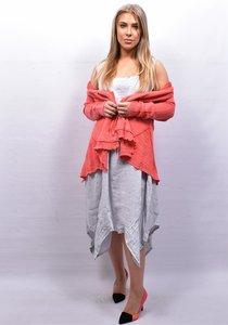 Jurk, linnen, grijs A-lijn met ingestikte plooien, mouwloos, ballonmodel, Vierkante hals