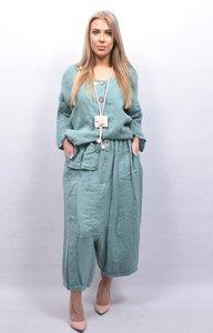 Zouavebroek, mintgroen, elastische taille, steekzakken, sierknopen, grote zak middenvoor, linnen