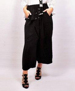 Zouavebroek, zwart, elastische taille, steekzakken, sierknopen, grote zak middenvoor, linnen