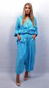 Zouavebroek, aqua, elastische taille, steekzakken, sierknopen, grote zak middenvoor, linnen