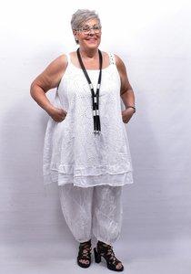 Mouwloze jurk/tuniek, wit, grote A-lijn, broderie.