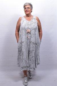 Mouwloze jurk grijs met print, grote A-lijn, linnen
