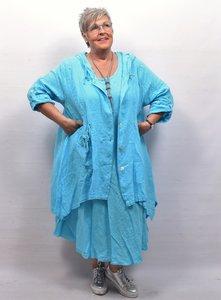 Mantel/jas half lang aqua,, knoopsluiting, grote  zak , capuchon. A-lijn