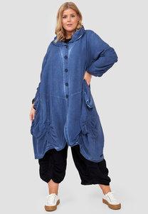 Mantel/jas lang, ballonmodel, blauw Kekoo, knoopsluiting, grote gerimpelde zakken, Peter Pan kraag, stonewashed