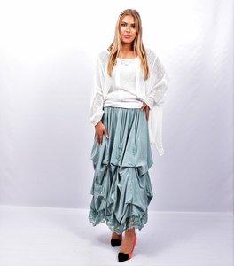 Rok, mintgroen, met ophaaltjes ,rekbare taille, in lengte verstelbare rok, kantzoom