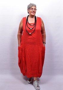 Jurk, rood mouwloos, ronde hals, ballonmodel, zakken aan zijkant