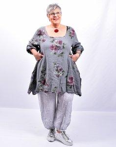 Tuniek, linnen, antraciet met bloemenprint,  A-lijn, rechte hals, 7/8 mouwen met ophaallus en knoop