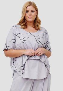 Tuniek, grijs met grijze print, Kekoo, asymmetrisch, ronde hals, korte mouw, gedeeltelijk tweelaags,