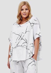 Tuniek, wit met print, Kekoo, asymmetrisch, ronde hals, korte mouw, gedeeltelijk tweelaags,
