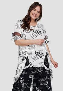 Tuniek, wit met zwarte print, Kekoo, asymmetrisch, ronde hals, korte mouw, geïntegreerde voile, voor korter dan achter