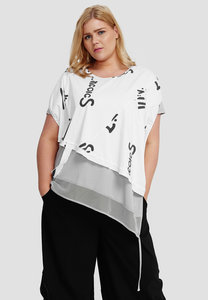 Topje, wit met letterprint, Kekoo, asymmetrisch, ronde hals,  ruimvallend