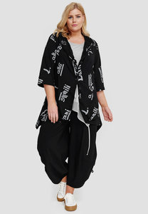 Jasje/vest, 7/8stemouw, zwart met letter print, Kekoo, asymmetrische zoom, knoopsluiting