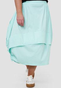 Ballonrok, mintgroen, met ophaaltjes in de zijnaad, rekbare taille, in lengte verstelbare rok,