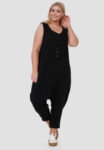 Jumpsuit, Kekoo, zwart,  zouavemodel, mouwloos, knoopsluiting